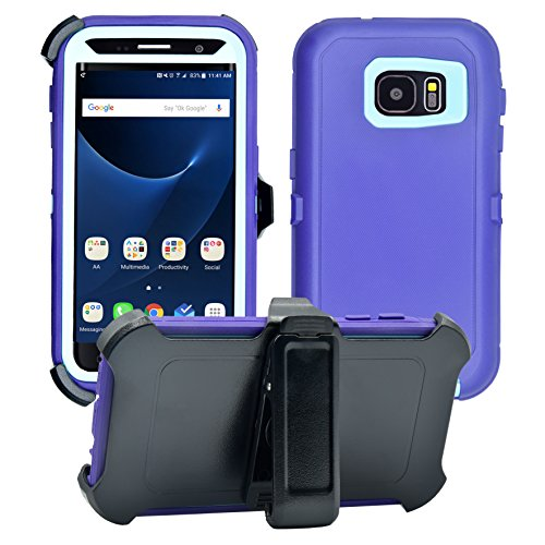 AlphaCell Cover Compatible with Samsung Galaxy S7 ONLY (Not Edge) | 2-in-1 Screen Protector & Holster Case | Full Body Military Grade Protection with Carrying Belt Clip | Shock-proof Protective