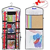 """ProPik Hanging Double Sided Wrapping Paper Storage Organizer with Multiple Front and Back Pockets Organize Your Gift Wrap & Gift Bags Bows Ribbons 40""""X17 Fits 40 Inch Rolls (Black)"""