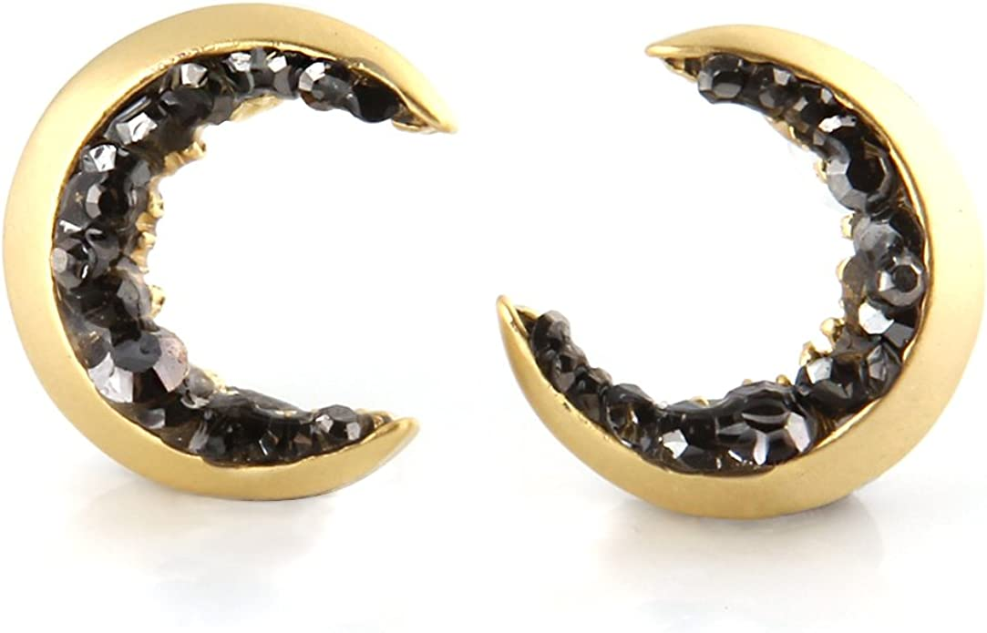 Crescent Moon Gold /& Black Marbled Earrings