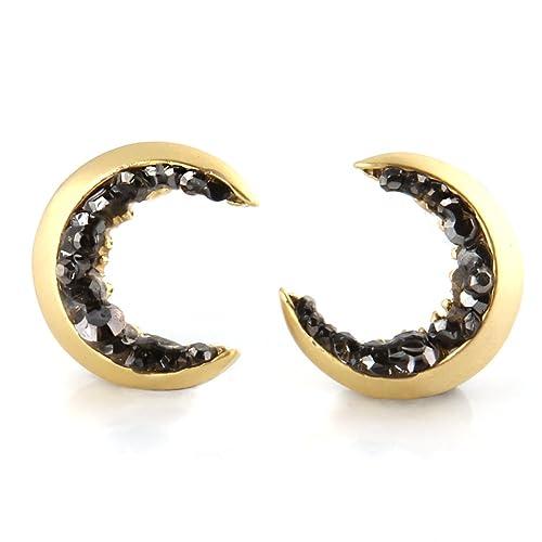 52a947e3c Amazon.com: Laonato Crescent Moon and Black CZ Earrings (Gold): Jewelry