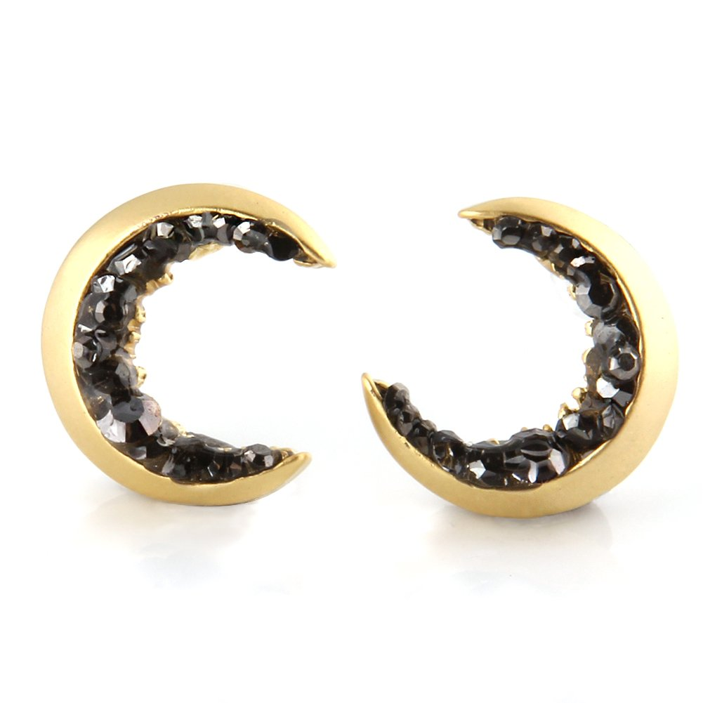 Laonato Crescent Moon and Black CZ Earrings (Gold)