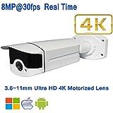 NightKing 4K 8MP SONY IMX274 Starvis IP Bullet Camera, Plug&Play, ONVIF,8 Megapixel 4K Motorized Lens 3.6~11mm 4K UHD Lens,WDR,Low Lux,2Pcs Array Leds,130Ft IR Distance