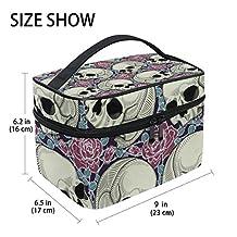 GIOVANIOR Sugar Skull Flower Large Cosmetic Bag Travel Makeup Organizer Case Holder for Women Girls