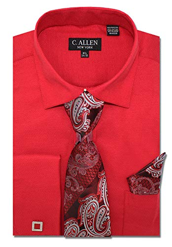 (C. Allen Men's Solid Square Pattern Regular Fit French Cuffs Dress Shirts with Tie Hanky Cufflinks Combo Red)