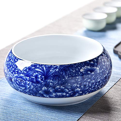 Flower Pot Blue and White Porcelain Chinese Style Non-Porous Large Narcissus Water Lily Water Culture Green Radish Meat Indoor Office Desk