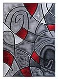 Masada Rugs, Modern Contemporary Area Rug, Red Grey Black. (8 Feet X 10 Feet) For Sale