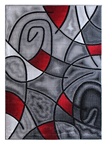 Masada Rugs, Modern Contemporary Area Rug, Red Grey Black. (8 Feet X 10 Feet) (Red Black And Grey Living Room)
