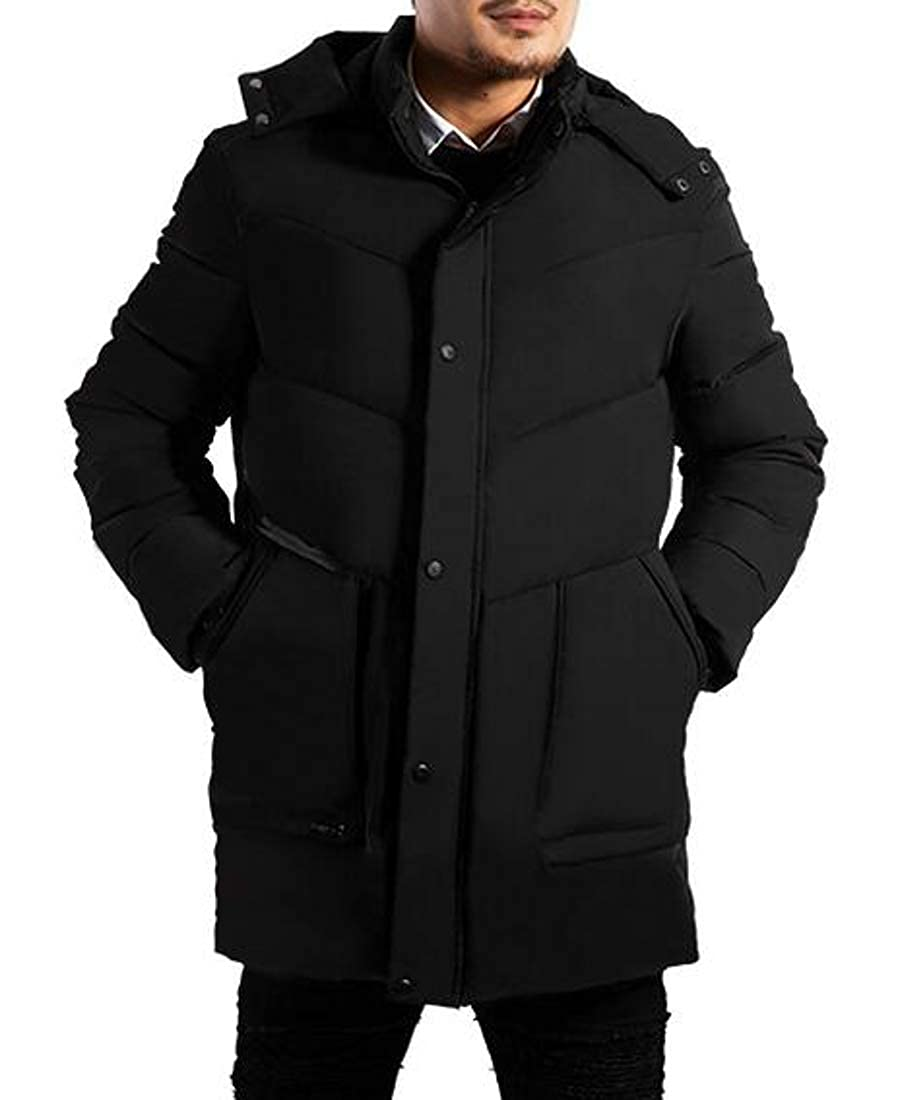 Sweatwater Mens Cotton-Padded Hooded Outerwear Dwon Coat Thicken Parkas Jacket