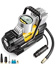 AstroAI Portable Air Compressor Pump, Digital Tire Inflator, Compresseur Voiture, 12V DC Electric Gauge with Larger Air Flow 35L/Min, LED Light, Overheat Protection, Extra Nozzle Adaptors and Fuse Yellow, Cadeau