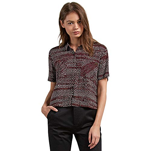 (Volcom Junior's Stone Resort Button Down Short Sleeve Shirt Burgundy)