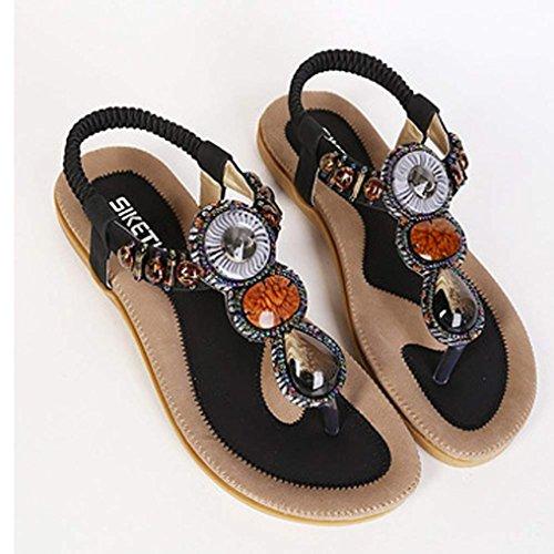 Damen Sommer Schuhe Xinan Damenmode Klippzehe Bohemian Herringbone Sandalen Schwarz