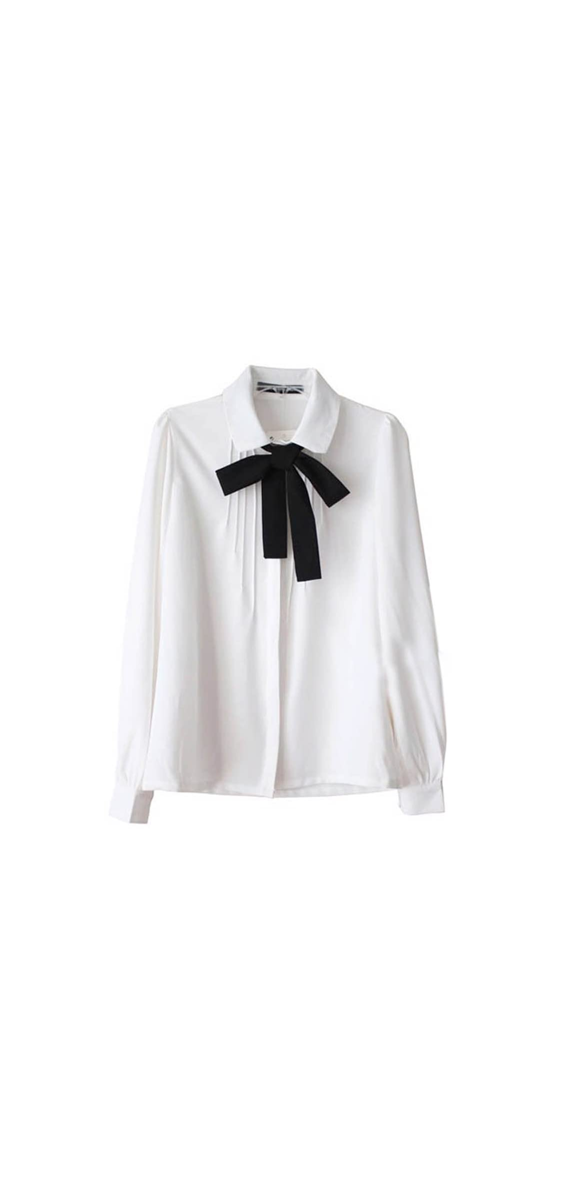 Lady Bowknot Baby Peter Pan Collar Shirt Womens Long Ol