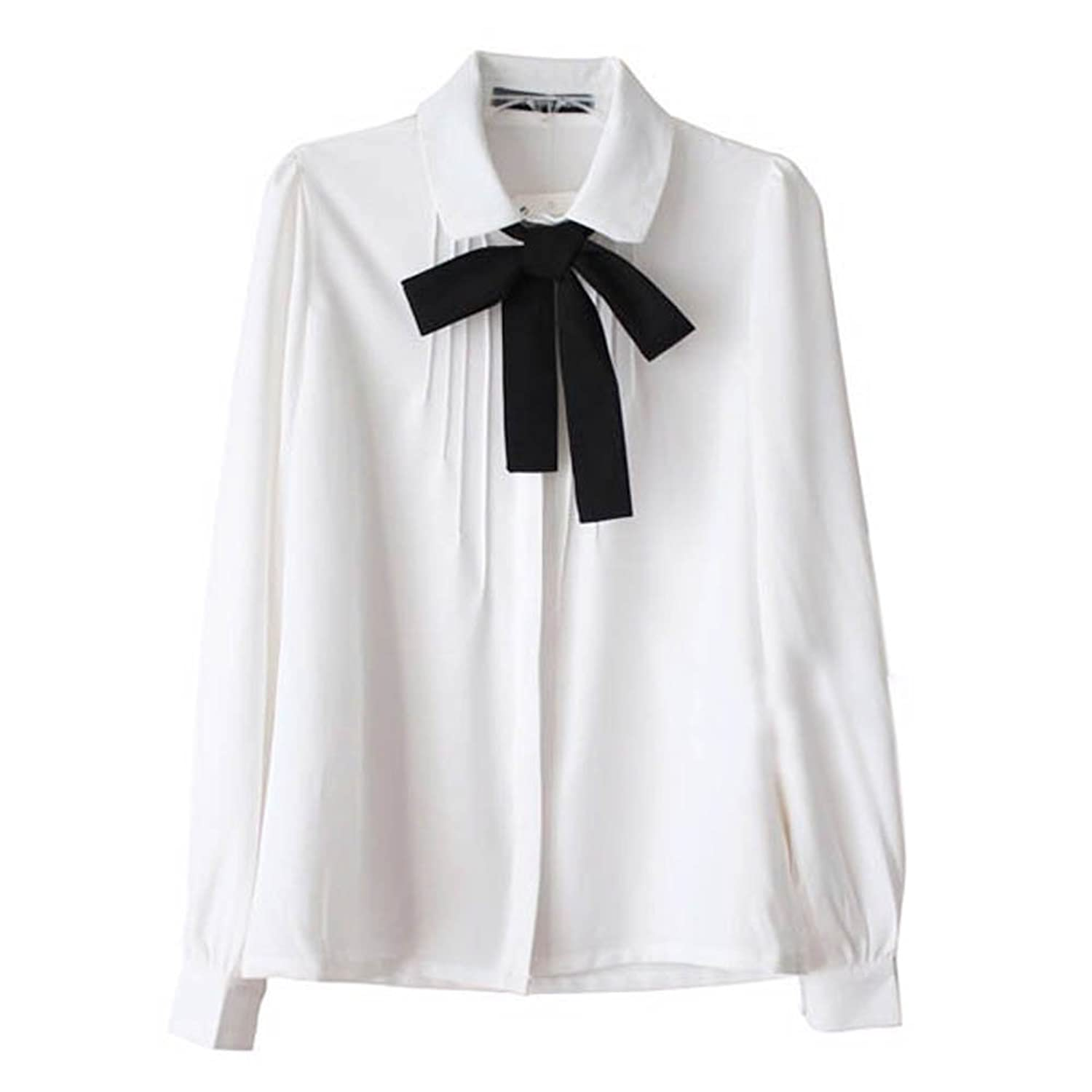 Edwardian Blouses | White & Black Lace Blouses & Sweaters Etosell Lady Bowknot Baby Peter Pan Collar Shirt Womens Long Sleeve OL Button-Down Shirts White Blouses $13.99 AT vintagedancer.com