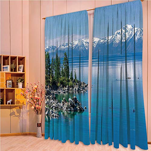 ern Style Room Darkening Blackout Window Treatment Curtain Valance for Kitchen/Living Room/Bedroom/Laundry,Tahoe Snowy Mountains Pine Trees Rocks Relax Shore 84Wx95L Inch ()