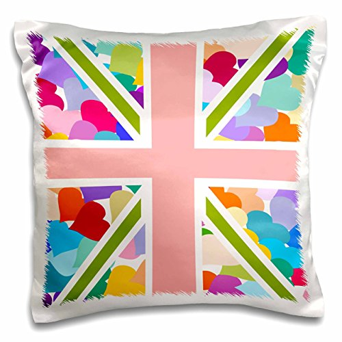 3dRose pc_58321_1 Colorful Cute Hearts Pattern Union Jack English Flag-Girly Great Britain United Kingdom England-Pillow Case, 16 by 16