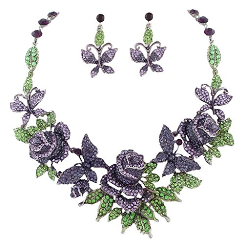 EVER FAITH Austrian Crystal Butterfly Rose Flower Leaf Necklace Earrings Set Purple w/ Green Silver-Tone by EVER FAITH