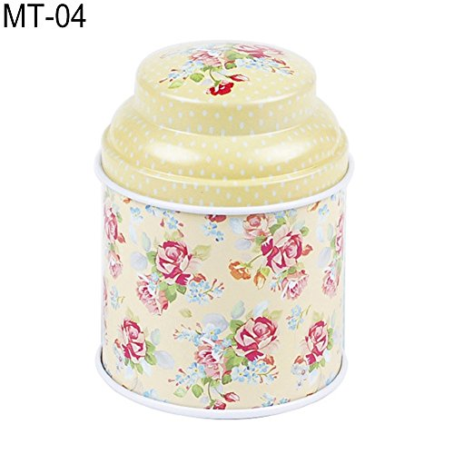 dezirZJjx Tea Container, Premium Tinplate Caddy Box Vintage Flowers Cylinder Round Tea Tins for Home Kitchen Storage Containers Colorful Tins- MT-03 by dezirZJjx (Image #6)