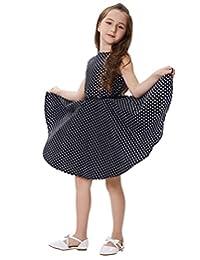 Kate Kasin Girls Sleeveless Casual Swing Dresses Belt