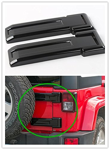 Spare Chrome Tire Trim Accessory (Highitem ABS Car Exterior Decoration Rear Spare Tire Tailgate Hinge Cover Trim Fit For Jeep Wrangler JK 2011-2017 (Black))