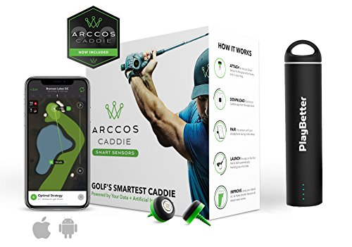 Arccos Caddie Golf Game Tracking System (Set of 14 Sensors) | Bundle with PlayBetter Portable Smartphone Charger | Golf GPS Live Auto Shot Tracking, Distances | Free Membership to Arccos Caddie AI