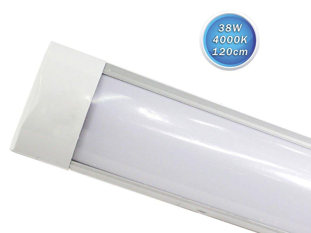 Vetrineinrete® Plafoniera led slim sottopensile tubo neon 9 19 28 38 watt 30 60 90 120 cm luce naturale 4000 k per soffitto mensole ripiani (30cm 9w) C6 Vetrine in rete