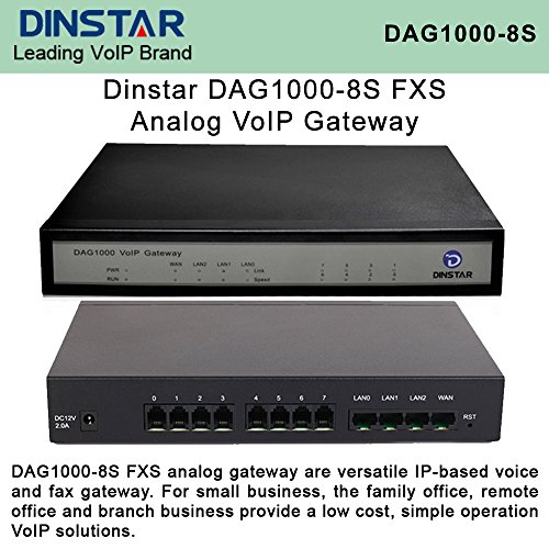 Dinstar DAG1000-8S FXS Analog VoIP Gateway Versatile Simple Operation