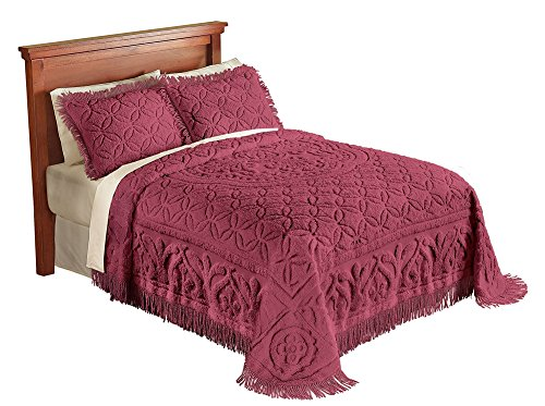 Collections Etc Victoria Plush Chenille Ring-Style Fringe Lightweight Bedspread, Burgundy, (Chenille Fringe)