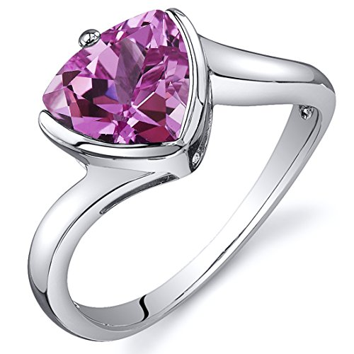 Created Pink Sapphire Solitaire Ring Sterling Silver Rhodium Nickel Finish Trillion Cut Sizes 5 to 9