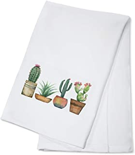 product image for Watercolor Painting Set of Cacti & Succulent Plants Isolated on White 9014255 (100% Cotton Kitchen Towel)