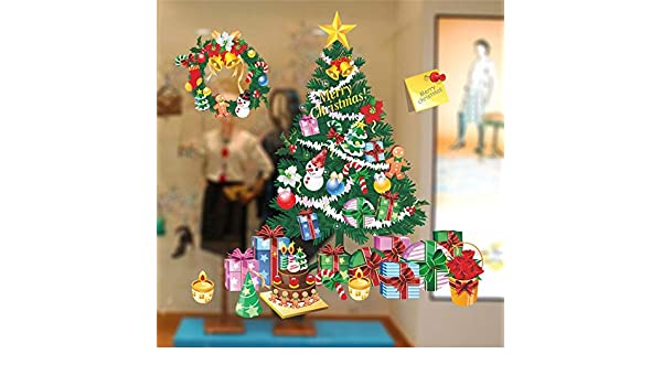 Amazon.com: JEWH Merry Christmas Snowflake Wall Stickers Home Showcase Windows Decals Decoration for Home Shop Glass Window Stickers: Home & Kitchen