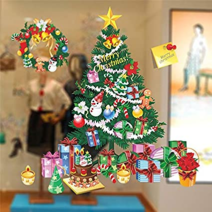 JEWH Merry Christmas Snowflake Wall Stickers Home Showcase Windows Decals Decoration for Home Shop Glass Window