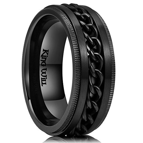 King Will Intertwine 8mm Mens Black Stainless Steel Ring Center Chain Spinner Ring Wedding Band 11