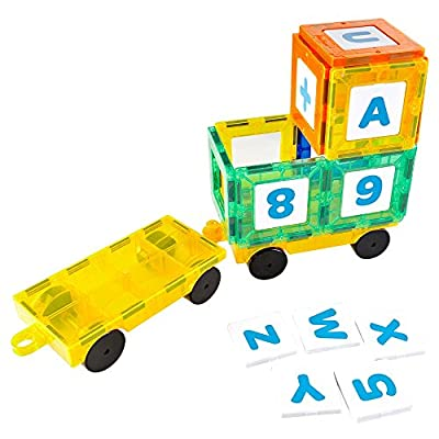 Mag-Genius The Perfect Add On Set Magnet Tile Gift, Comes With All The New Additions Includes 3 Cars, 20 Window Magnet Tiles W/Fun Clickins, And The All New Cones And Cylinder Design: Toys & Games