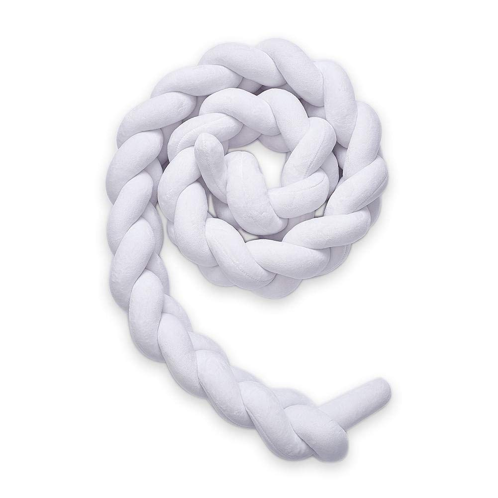DIY Handmade Twist Braid Knot Pillow Bed Circumference Denmark Knot Ball Pillow Crib Bumper Cushion Knotted Infant Handmade Braided Nordic Childrens Room Decoration Blue, 1.5M//59.06