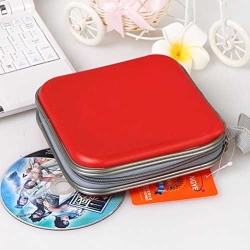 Gudelaa Molded 40 Capacity Disc CD DVD VCD Portable Wallet Storage Organizer Holder Bag ; (Molded 40 Capacity CD/DVD/VCD Case Red