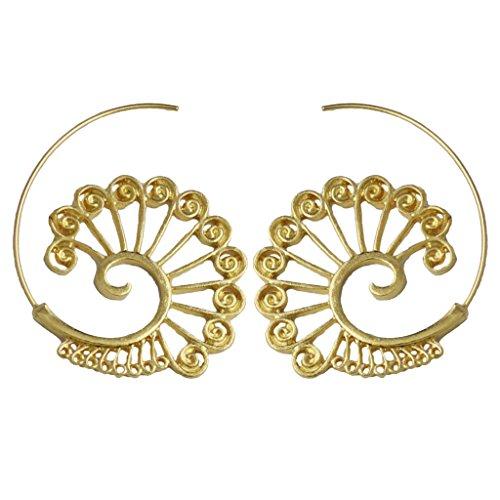 Homyl Pendientes de Aro Espiral Aretes de Estilo Étnico Piercing Joyería de Oído para Mujer - oro 3