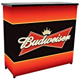Trademark Global Budweiser Metal 2 Shelf Portable Bar Table with Carrying Case