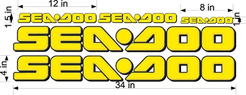 SEA-DOO-3D YELLOW-LOGO-4x34-DECAL-SET-GRAPHIC-STICKER-PACKAGE, REPLACEMENT (Decal Set Replacement)