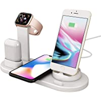 Charging Station for Smartphones Charging Stand for Apple Watch 5/4/3/2/1 Charging Dock for Airpods and Fast Wireless Charger for iPhone 11 Pro/11/X/XR/XS,Samsung S10/S10+/S9 (QC3.0 Adapter Included)