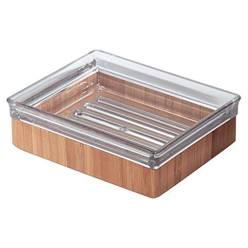 InterDesign Formbu Bath Collection, Soap Dish, Natural Bamboo/Clear (Bamboo Bar)
