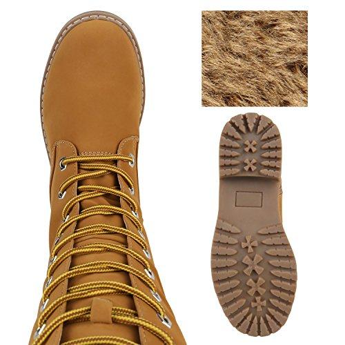 ... Stiefelparadies Damen Schuhe Schnürstiefel Biker Boots Schnallen  Metallic Stiefel Flandell Hellbraun Bexhill d085789522