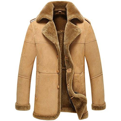 Notched Collar Shearling Coat - 6