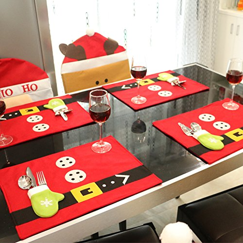 Sricam TPlacemats for Dining Table, Christmas Red Placement Nonwoven Cloth Mat for Table with Tableware Holder Bag,Pack of 4 by Sricam (Image #6)