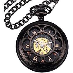 Zeiger New Mens Classic Mechanical Steampunk Pocket Watch, Stainless Steel Copper Case Skeleton Roman Design, Pocket Watch With Chain (Black)