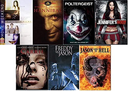 Halloween Movie Collection Horror & Thriller - Silence of The Lambs/ Hannibal/ Poltergeist/ Jennifer's Body/ Carrie/ Freddy Vs. Jason/ Jason Goes to Hell/ Asylum/ Last House on the Left/ -