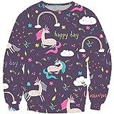 KIDVOVOU Girls Unicorn Hooodie Casual Top Sweatshirts Pullover Kids 5-14 Years,7-8years,Happy Day