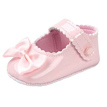 Infant Baby Shoes for Toddler Baby Kids Girl Bowknot Anti-Slip Magic Tape Loafers Sequin Flats Shoes Pink 12 cm