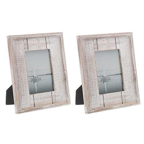 Barnyard Designs Rustic Distressed Picture Frame 5″ x 7″ Wood Photo Frame in Black White (2-Pack)
