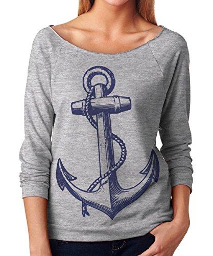 Womens Vintage Anchor Nautical Sailing Nantucket Pirate 3/4 French Terry T Shirt, Medium, Heather Grey
