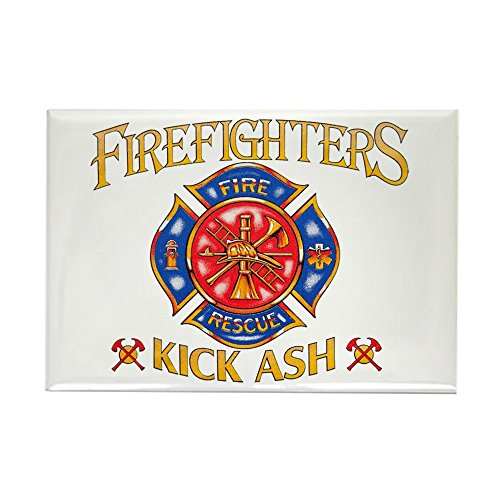 Rectangle Magnet Firefighters Kick Ash Fire ()